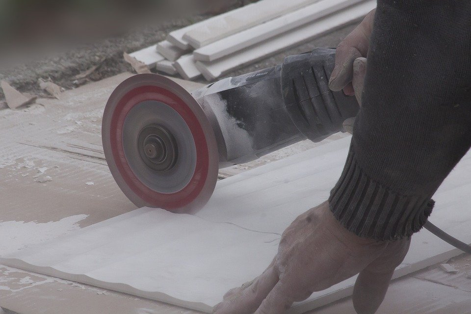 using an angle grinder as a tile saw